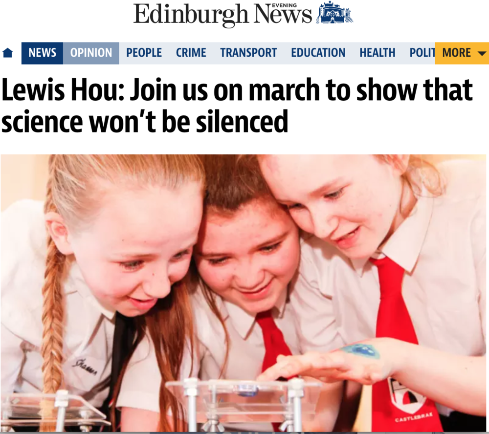 Article I wrote for the Edinburgh Evening News encouraging people to March for Science, 2017