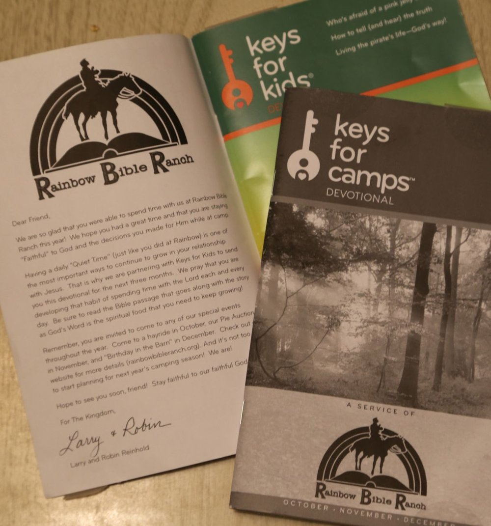 - Look what arrived in the mail yesterday. Rainbow Bible Ranch in partnership with Keys for Kids Ministries have mailed to many of the kids that came to camp these great story and Bible lessons. It is alarming to see how few families take time to spend as a family and be encouraged from God's Word. As you start your day, ask