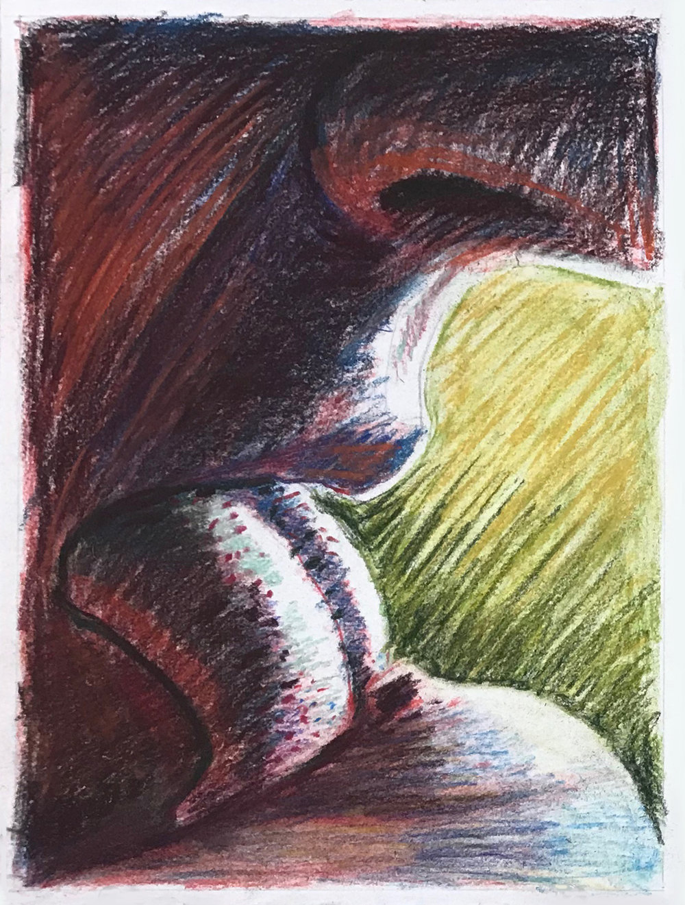 Lick  2019 | conté crayon and pastel on paper | 9 X 12 inches