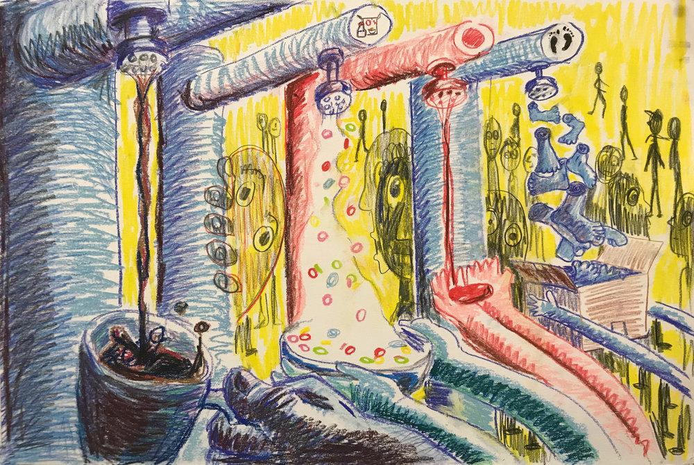 Alon's Dream  conté crayon on paper  9 X 18 inches  2019