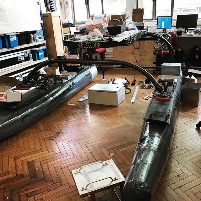 Our Wam-V is home again 😍 Busy getting it set up for testing #RobotX #usydrowbot