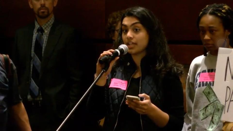 Nuha giving public comment at the January UC Regents meeting to stop the tuition hike