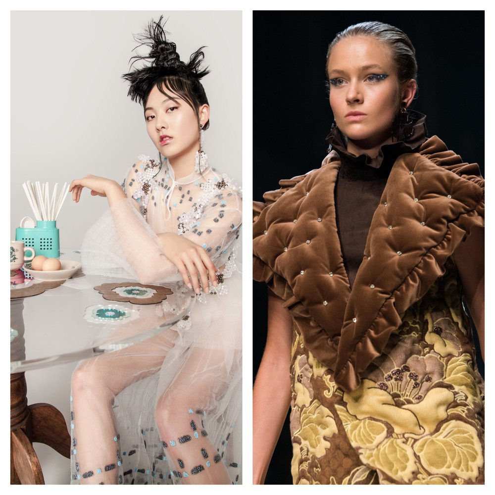Chia Lee 'Kopitiam' collection (left), and Madeleine Jost's collection, 'So We Can Remember,' (right) ,   Photo credit: VAMFF Reannon Smith for Vox Frock.