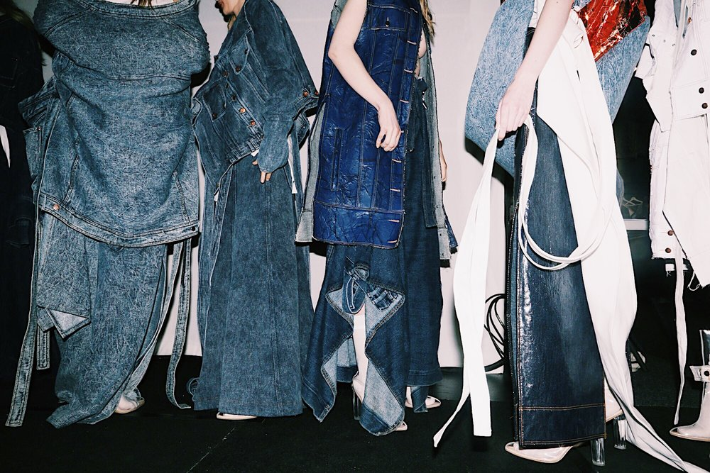 Conceptual denim layers backstage at MBFWA. Photo credit: @everylastsecond