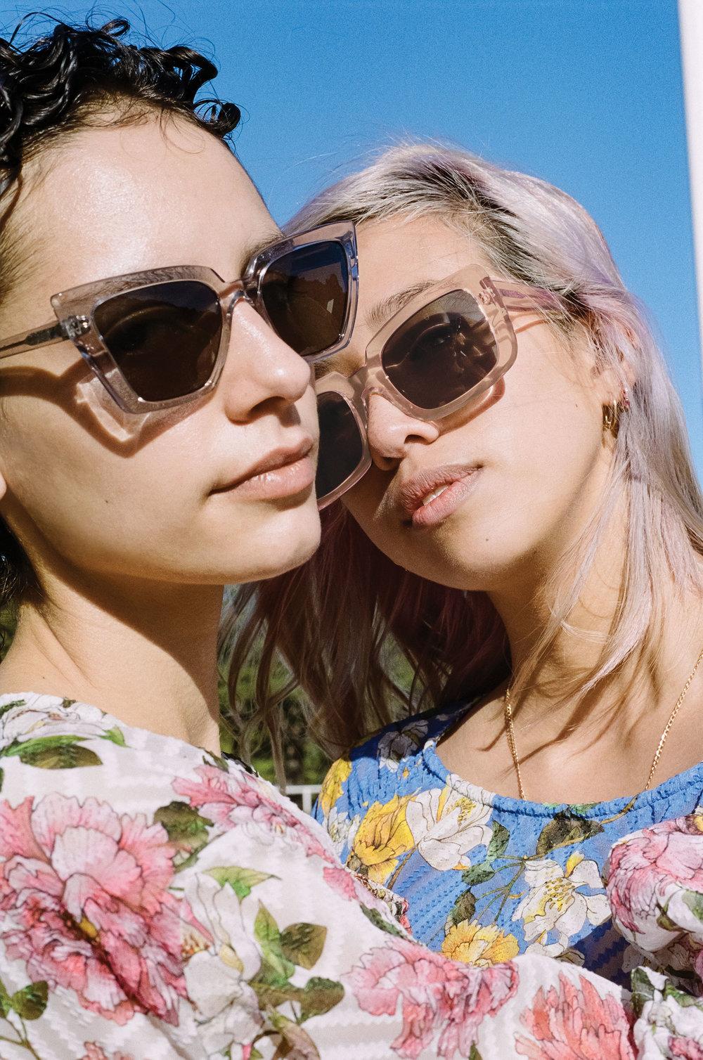 Maya wears Peggy frames, Rainy wears Dorian frames - campaign imagery, Chloe Hill.