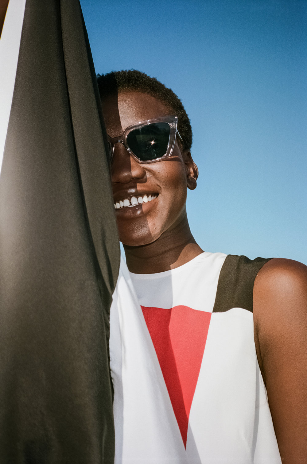 Nya wears Peggy frames - campaign imagery Chloe Hill.
