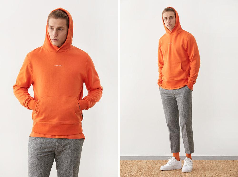 Harley hoodie  in Nordic Orange worn with Slim Kobe Pant, image supplied