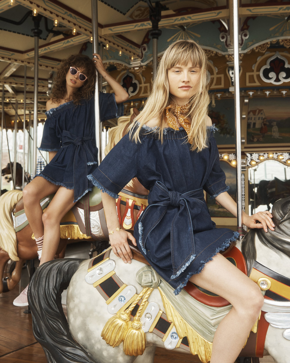 Models wear Madewell x Karen Walker Off the shoulder dress