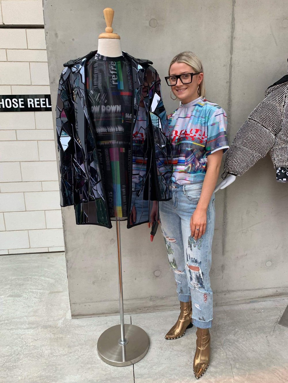 """A finalist at this year's iD Emerging Designer Awards, Eily Shaddock's collection explores the social media landscape: """"It requires balance and 'user awareness,' says Eily. Image supplied."""