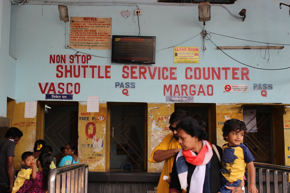 Navigating the Panjim bus stand and its sea of travellers.