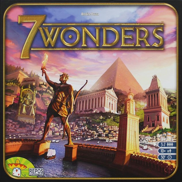 7 Wonders - 7 Wonders is a fantastic 3-round card drafting game where you are building an engine that will hopefully produce the most victory points at the end of the game. There are so many routes you can take, that I almost never know what strategy I'm going to take until the second round. I really like the diversity of strategies in this game and also the flow of the game is fairly quick. Definitely a game I never get tired of playing!