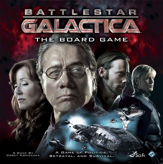 Battlestar Galactica - Players will either be loyal to the humans or to the Cylons. Humans and Cylons have specific and conflicting winning objectives. The human players win by reaching Kobol, but the Galactica will be be threatened by a host of challenges along the way. Only through the cooperation of the humans will the ship (and fleet) survive. The Cylon players win either by destroying the Galactica with attacks from the Cylon fleet, or, through sabotage that reduces one of the necessary resources (Food, Fuel, Population, or Morale) to zero.