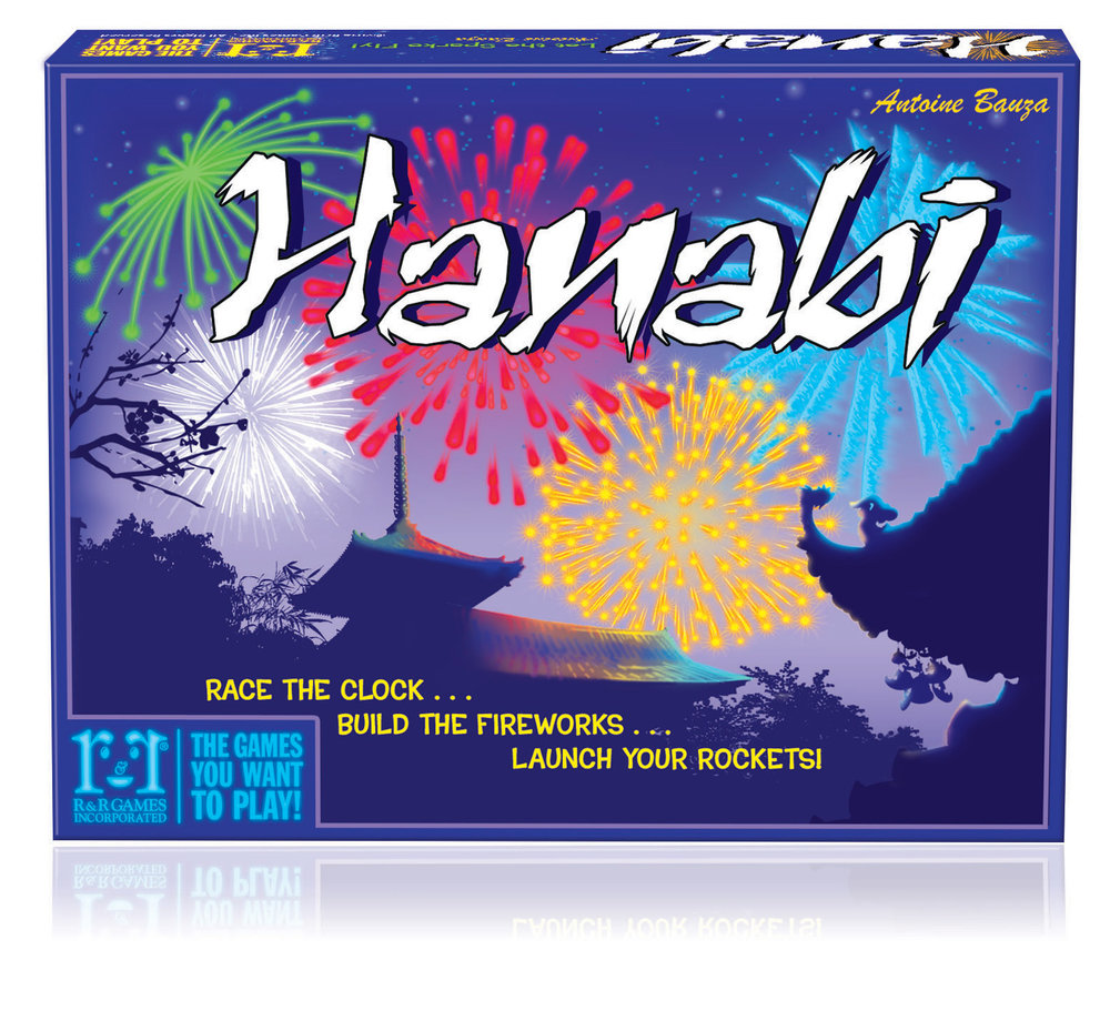 Hanabi - INTRODUCES: Co-op/deductionHanabi is an excellent co-op communication game where you will be relying on information provided by other players to influence your turn. Hanabi is a card game where you work as a team to play your cards in a specific order. The catch is you can't see any of the cards in your hand and need to piece together vague clues your teammates provide you to determine which cards to lay down.Hanabi is an excellent game to introduce newbies because it's easy to learn and it's 'unknown hand