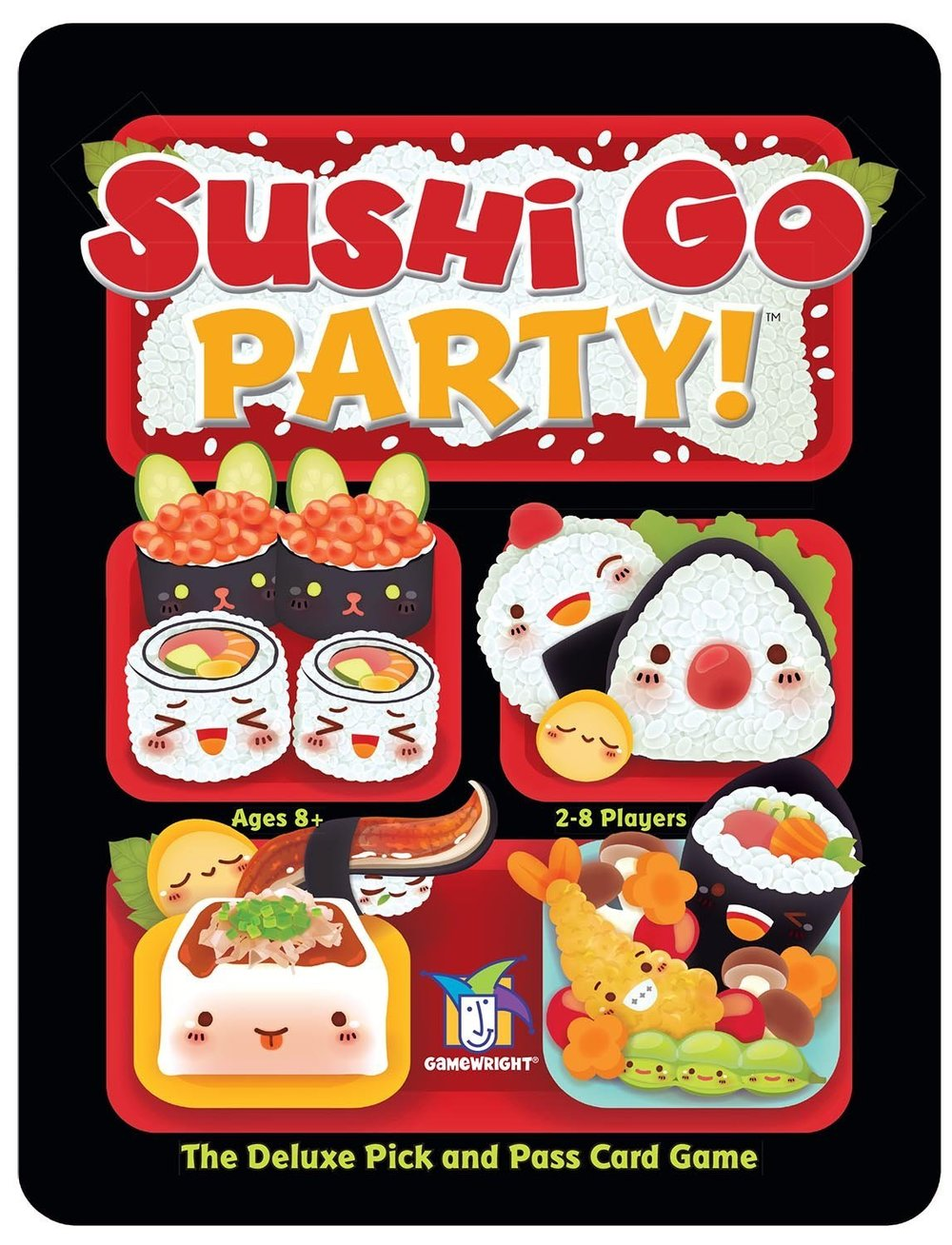 Sushi Go Party - PLAYERS: 2 -8In Sushi Go Party, the goal is to grab the best combination of sushi dish cards as they get passed around the group.Players score points for collecting different sets of cards as individual card piles get passed around the table. Each turn you receive a pile of cards from the player next to you and may pick one card to keep in your hand. Turns continue until all the cards have been taken. Points are scored based on the type of card you have (sushi, eggrolls, etc...) and how many of the same kind you have.Sushi Go Party is a great and fast paced card game for groups who like card games and are looking for a individualized game to play.