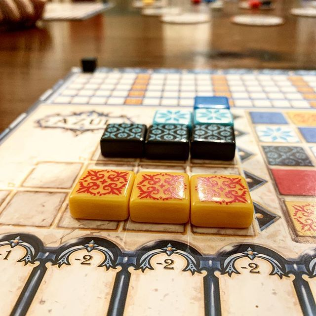 Fitting in a few games of Azul tonight. One of my all-time favs!!