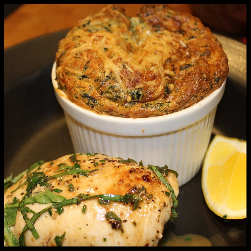 We enjoyed our souffles with herb-roasted chicken breasts with a spritz of lemon!   I hope you enjoyed this step by step tutorial.  I invite you to write me with any questions (just look on my CONTACT. page).  Made with love, for you!