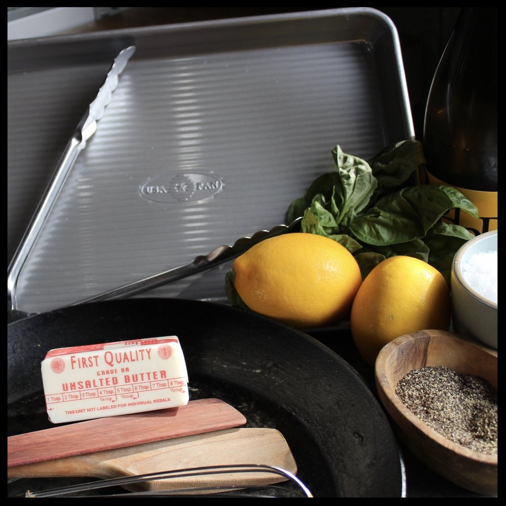 WHAT YOU'LL NEED:   -Heavy frying pan (I use carbon steel)  -Sheet pan  -Whisk, wooden spoon  -Oven - preheated to 350 degrees  -bamboo skewers or long toothpicks   INGREDIENTS:   6 boneless chicken breasts   Bag of spinach  Package of prosciutto or thinly sliced ham  1 cup parmesan cheese - grated  1/2 cup EACH white wine and chicken stock