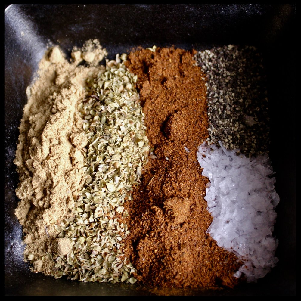 *Mix these all together - this is your LATIN SPICE RUB  - 3-4 portions of Atlantic salmon (I like the skin on as I save this rare treat for Misty and Bill, my 4 legged kids)  - olive oil  - 14oz can pinto or black beans, rinsed and drained  - 1 beer (if you don't want boozy beans, sub in stock)  - 1/2 cup of your favorite prepared salsa
