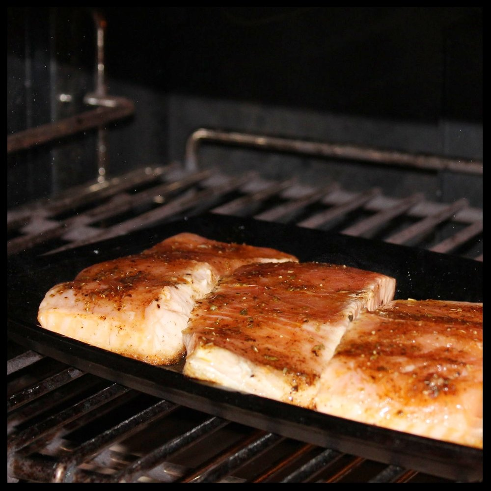 27. Put the salmon under the broiler, close your oven door, and let cook for 5 minutes.