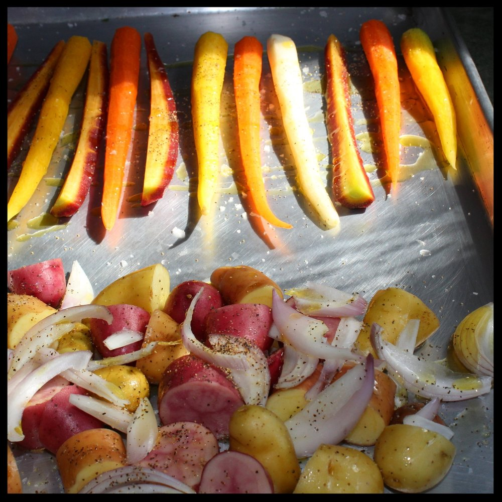 KIDDOCJJ Tip:  save yourself washing extra dishes by roasting your veggies on the same sheet pan.   5. Roast at 400 for 15-20 minutes - if carrots are brown and caramelized, remove them and continue to roast the potatoes until they are deep golden brown and fork-tender.