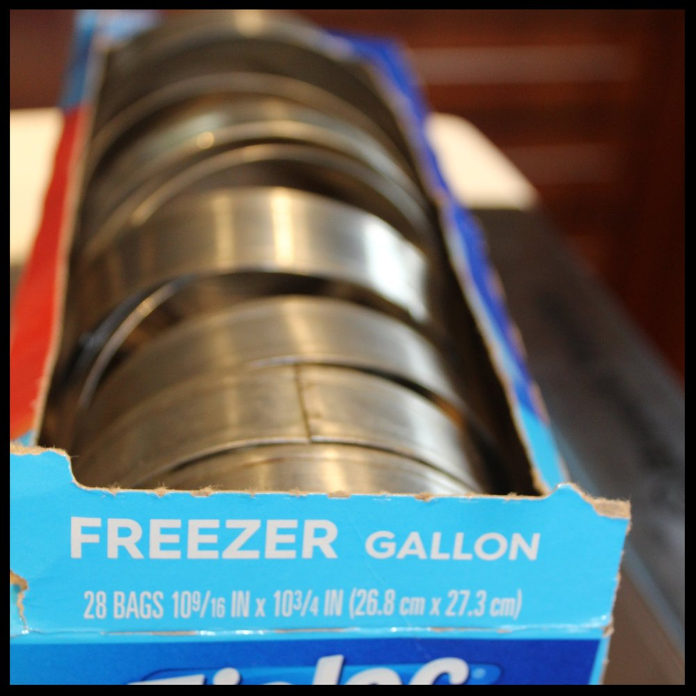 "**A few words about  English Muffin Rings :  If you don't have any (and I recommend that you do), you can save up your tuna cans, remove the labels and both lids, run them through the dishwasher and save them up. Both the molds you can buy, and tuna cans can run amuck in your drawer. The perfect ""storage unit"" is an empty Ziplock box (gallon size).  You can use these molds to shape eggs for frying, or even scrambled eggs to make little frittatas. They serve double duty as large cookie or biscuit cutters, and are terrific when cutting puff pastry or pie crust. Buy the stainless so they don't rust."