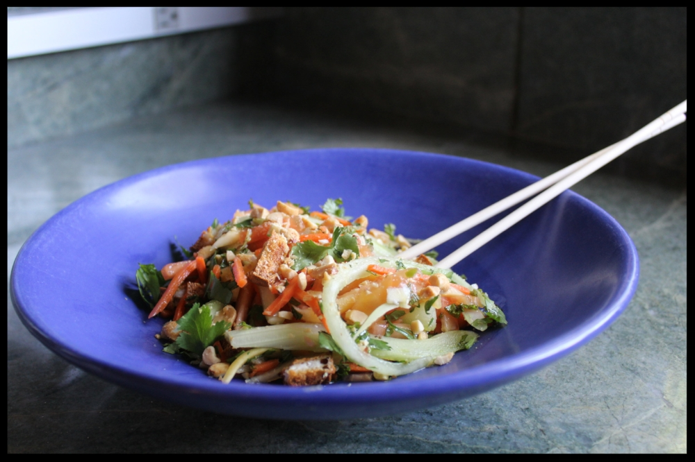 This GREEN PAPAYA SALAD is a perfect pairing with the wings.  For the recipe,  click here.