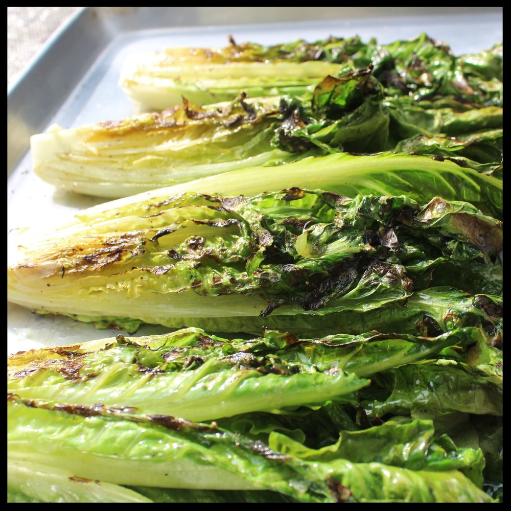 6.  At this point you can serve the romaine hot off the grill, room temp or even refrigerated.  7.  Drizzle with dressing, sprinkle parmesan and croutons over the top and enjoy!