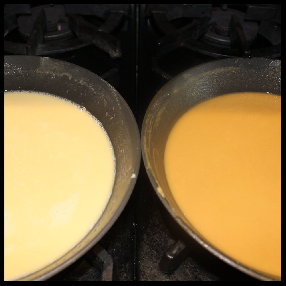 "45 minutes:   It's clear that the oven roux on the left still is blonde, while the stovetop roux is deepening in color, verging on becoming ""brown roux."""