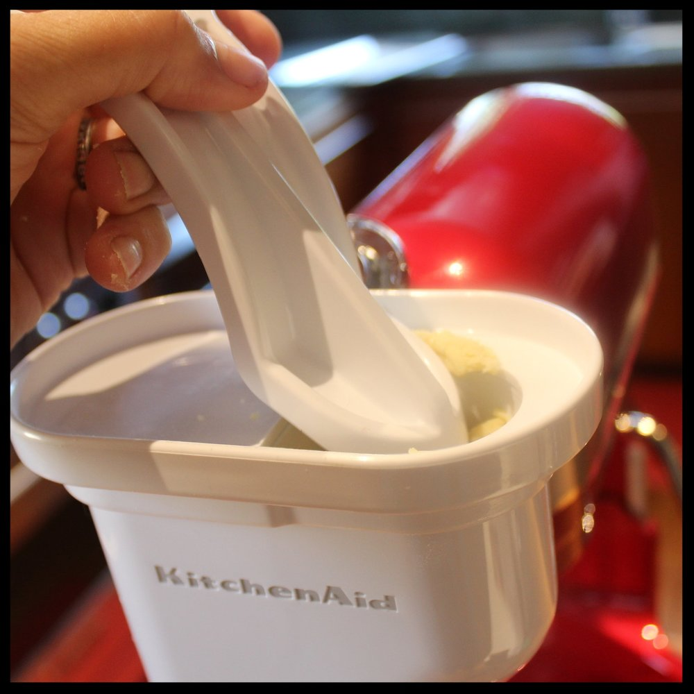 KIDDOCJJ Tips   -  The use of force loading your dough is not recommended...you'll jam the hopper and grow a few gray hairs  -  When taking apart the assembly after making your noodles, leave the parts out overnight with the wet dough stuck to them.  The next day, the dough will be dry, making it so easy to remove with the cleaning brush.  Use a toothpick to pry the dough from the disc.  -  When you are cutting your noodles, if you screw up, just gather them up and put back in the hopper.  -  Don't put ANYTHING in the hopper besides the dough or the tool - NEVER put your hands in there, or leave this attachment working with little ones around.
