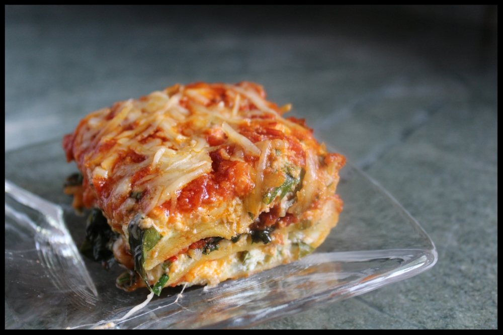 SPINACH LASAGNE with home made  WHOLE MILK RICOTTA , FRESH SPINACH and home made  EGG PASTA