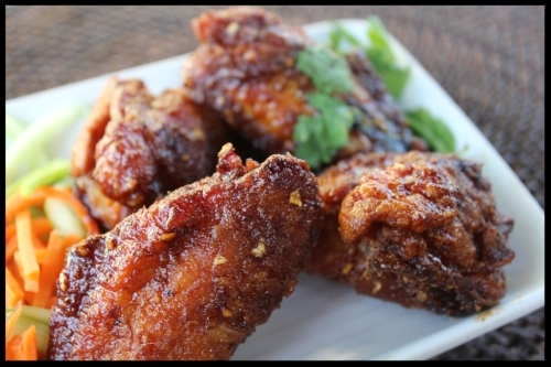 My version of POK POK (Portland, OR) spicy sticky wings. Click on the button below for the recipe. You won't regret it!! Bring extra napkins!