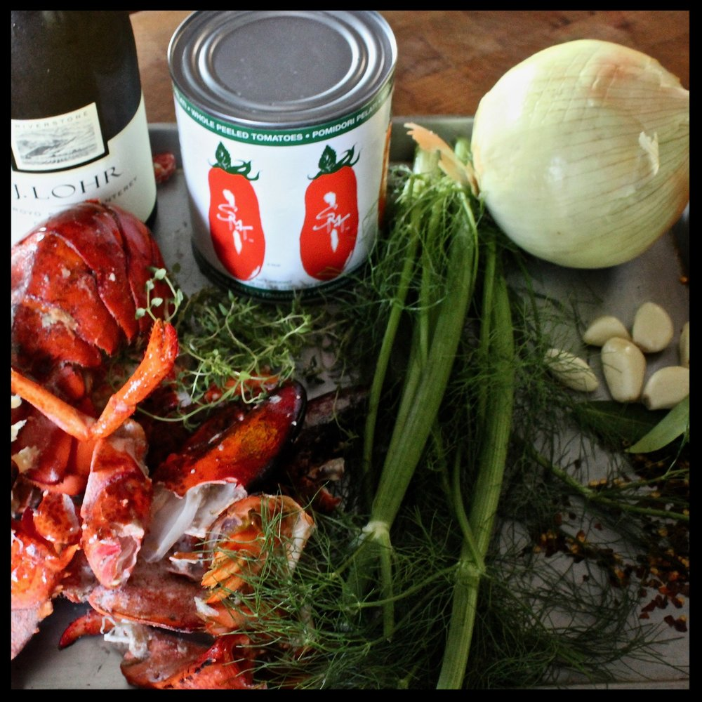 INGREDIENTS:   - Shells from 2-3 lobsters  - 1 large onion, peeled, and roughly chopped  - 6 cloves garlic, smashed  - large pinch (1/2 tsp) red pepper flakes  -  6-8 sprigs fresh thyme  -  2 bay leaves  -  fennel fronds (if you have them)  -  14 ounce can whole tomatoes with their juice  -  bottle of dry white wine (1 glass for the chef, the rest for the stock)