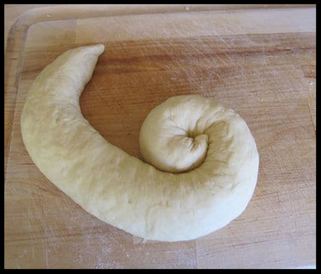The beginnings of a turban challah - perfect for when you have stuffed with your favorite fruits and sweets.