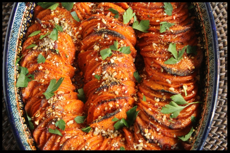 Sweet potatoes topped with spicy harissa, sweet honey, crunchy dukkah and bright parsley!