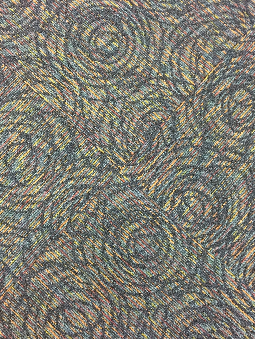 ALONE // Airport Carpet Zine: Photograph of organic carpet pattern at unknown airport