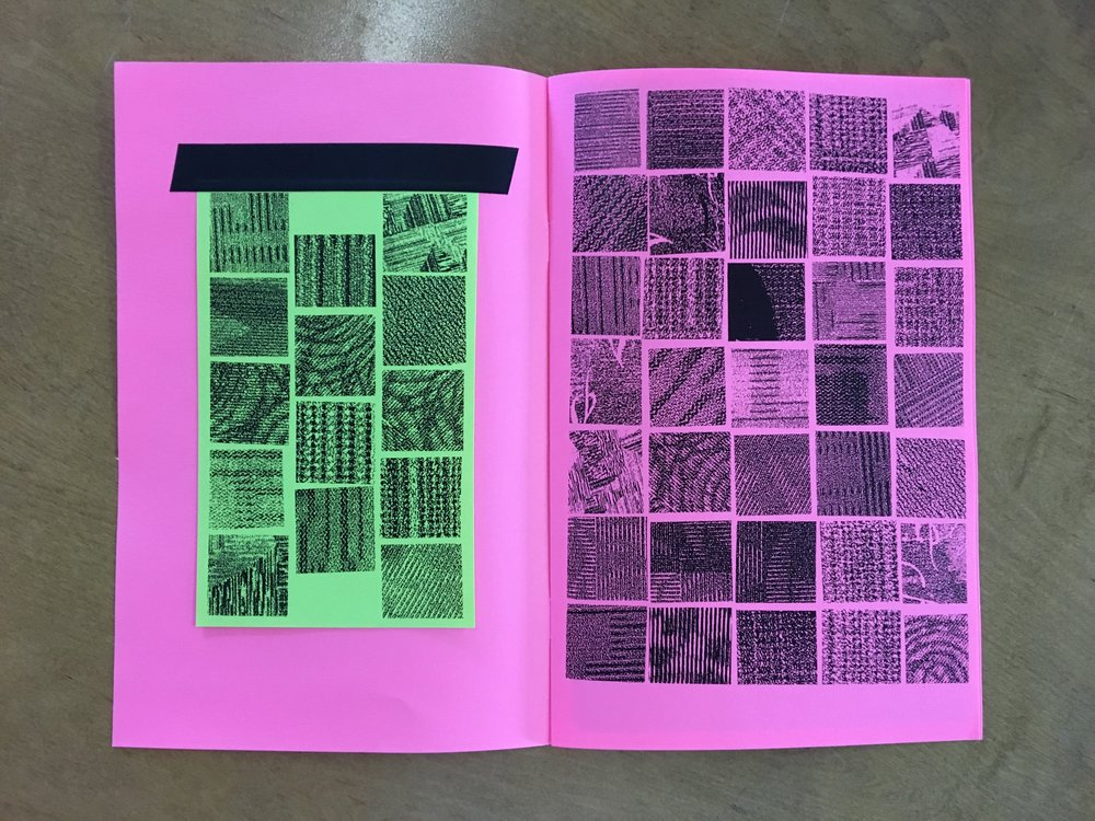 ALONE // Airport Carpet Zine: final book layout (inside cover)