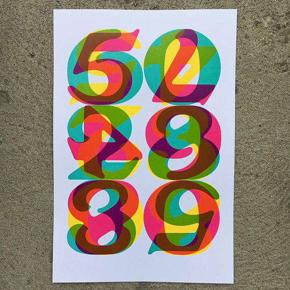 """Numerals"" // Letterpress Collaboration with Chris Fritton (The Itinerant Printer) // materials used: wood type, Vandercook, fluorescent ink"