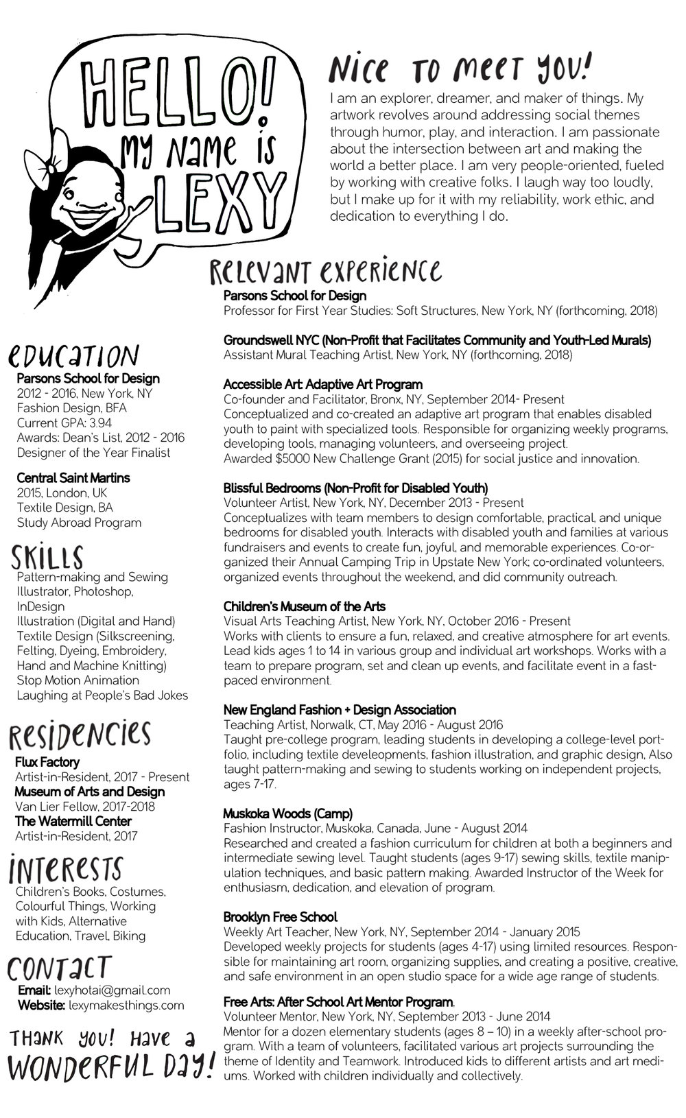 Resume (Teaching) — LEXY HO-TAI
