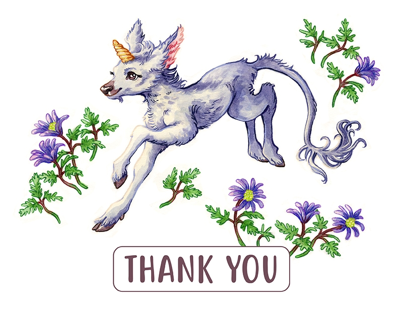 Unicorn Fawn Thank You
