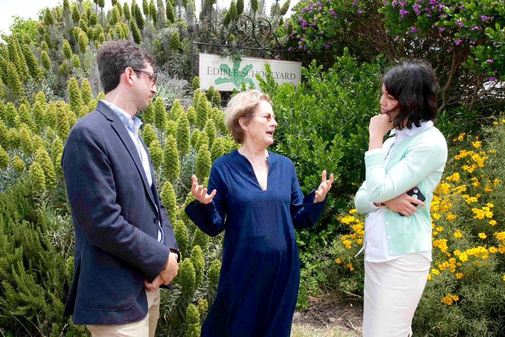 With California's renowned Chef and food activist Alice Waters at the Edible Schoolyard in Berkeley.