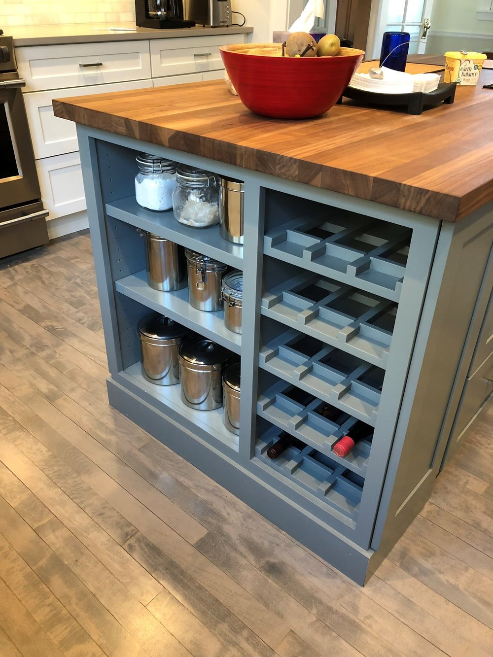 Island with built-in winerack