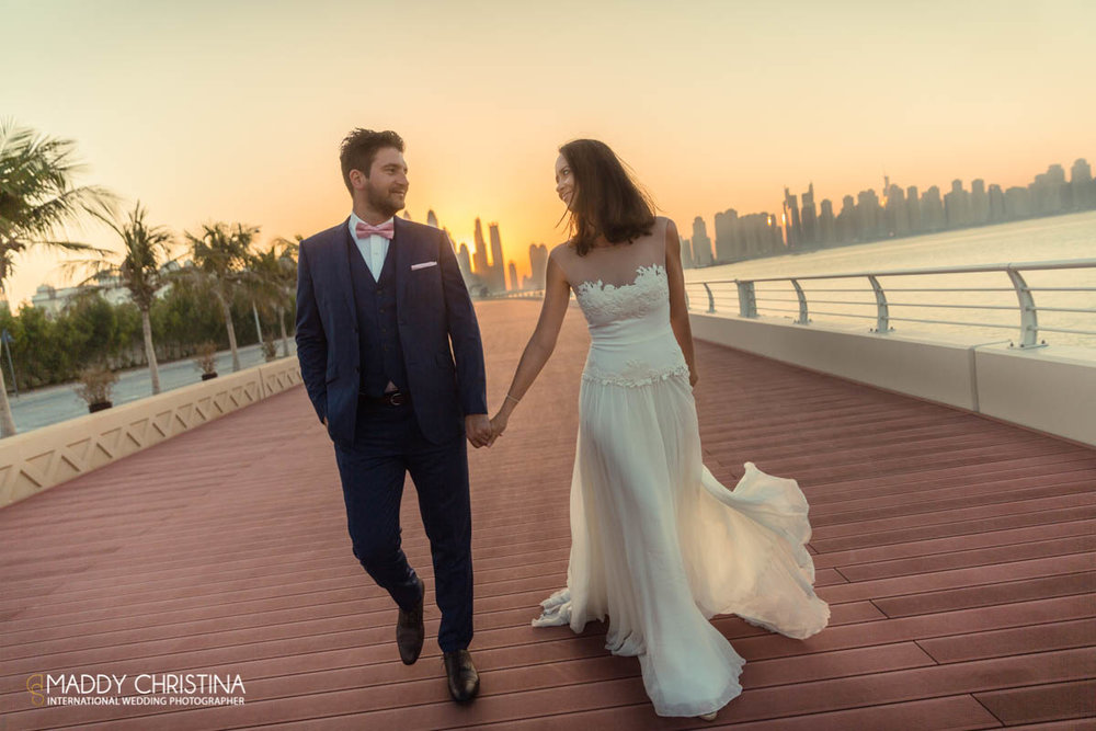 wedding mariage marriage dubai dubaï desert photograph photographer bride shoot the palm groom