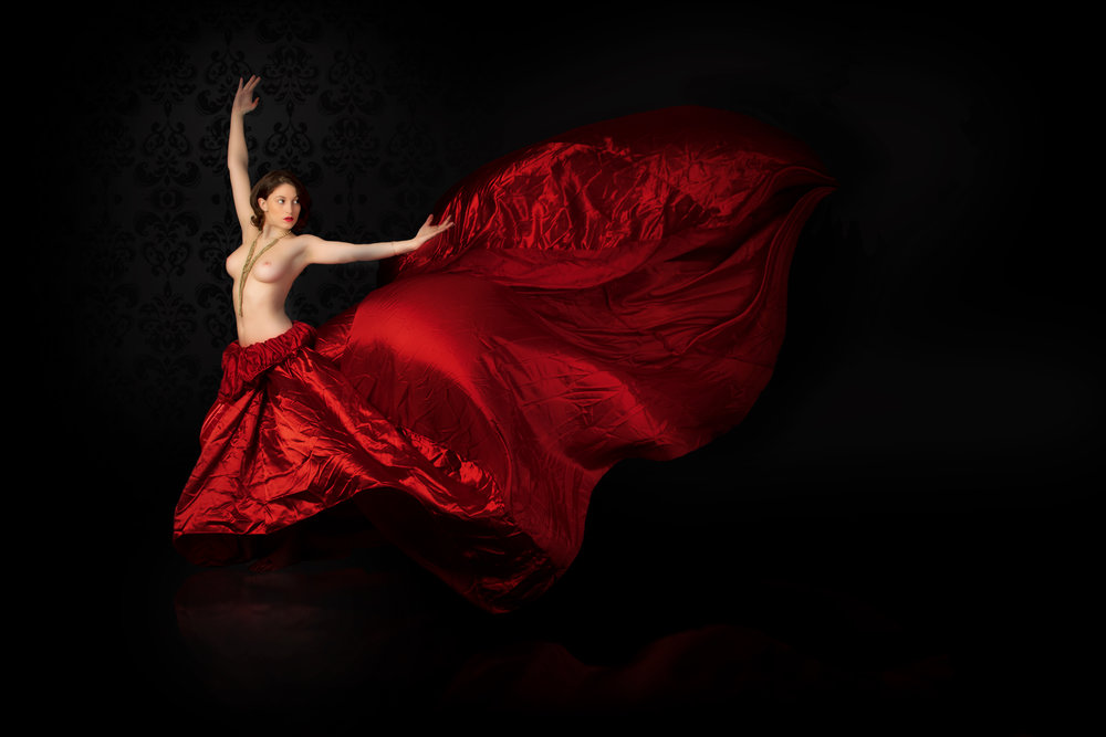Red flowing dress -