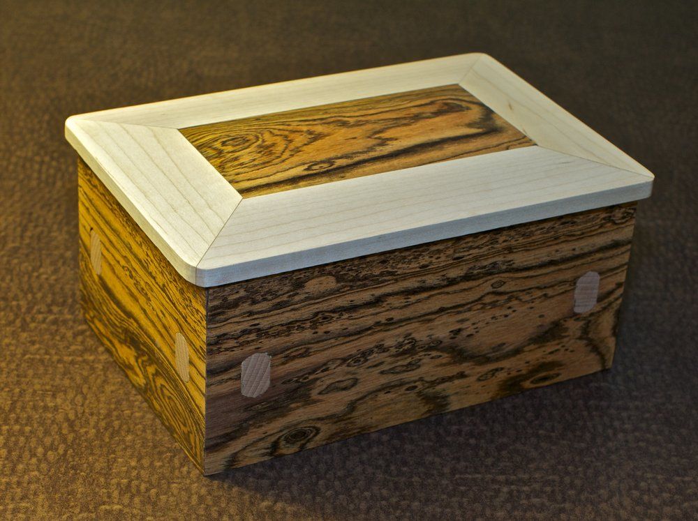 bocote maple jewelry box loose through tenons burl forest