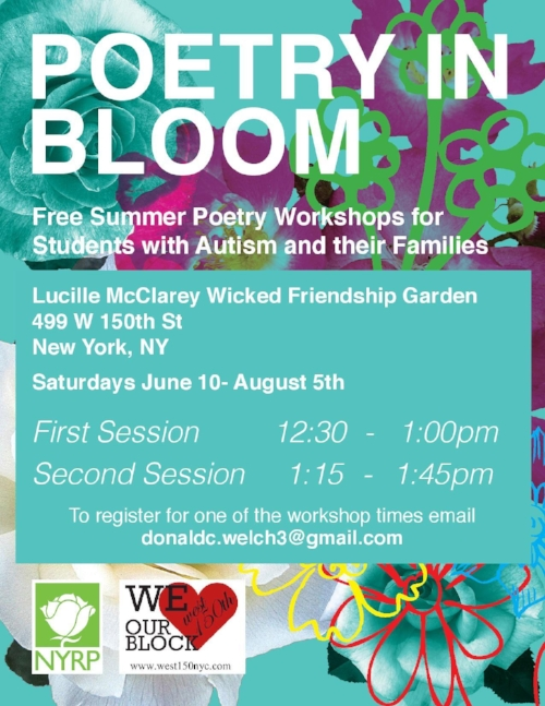 "Vibrant teal flyer with ""Poetry in Bloom"" in all white lettering. Background has images, sketches, and line drawings of various flowers. Information about the event is in an all teal box, written in white lettering. In the bottom left are organization logos."