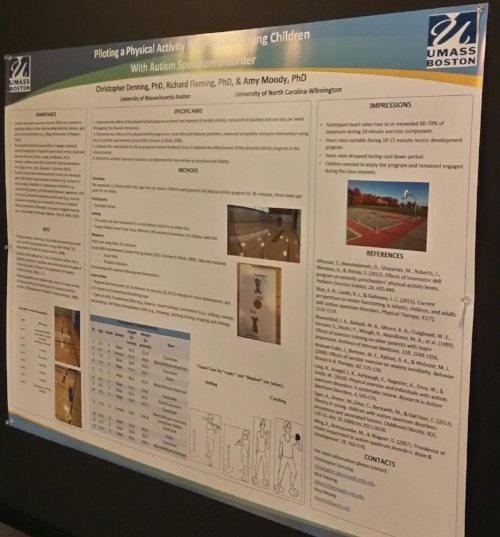 Academic poster form Umass Boston. The title and subtitle blocked out by a light glare. The Umass Boston logo and color scheme, blue and white, are employed throughout. The lettering and charts are black on a white background.