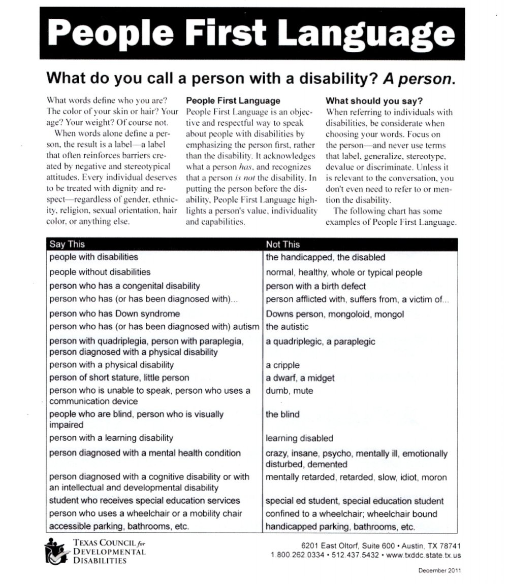 """People First Language"" guidelines included in the Volunteer information packet."