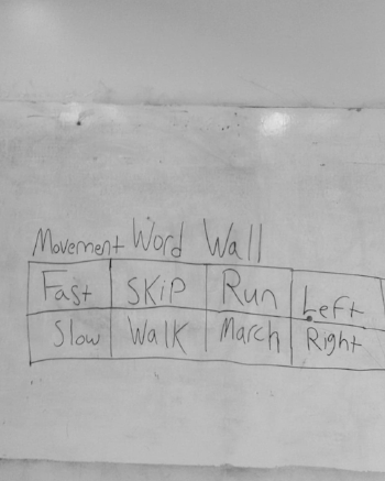 "On a school white board a chart is written in black expo marker. The chart has two rows and four columns. The title of the chart is ""Movement Word Wall"" The top row reads from left to right: ""Fast Skip Run Left"" with each of those words in their own column. The bottom row reads from left to right: ""Slow Walk March Right"" with each of those words in their own column."