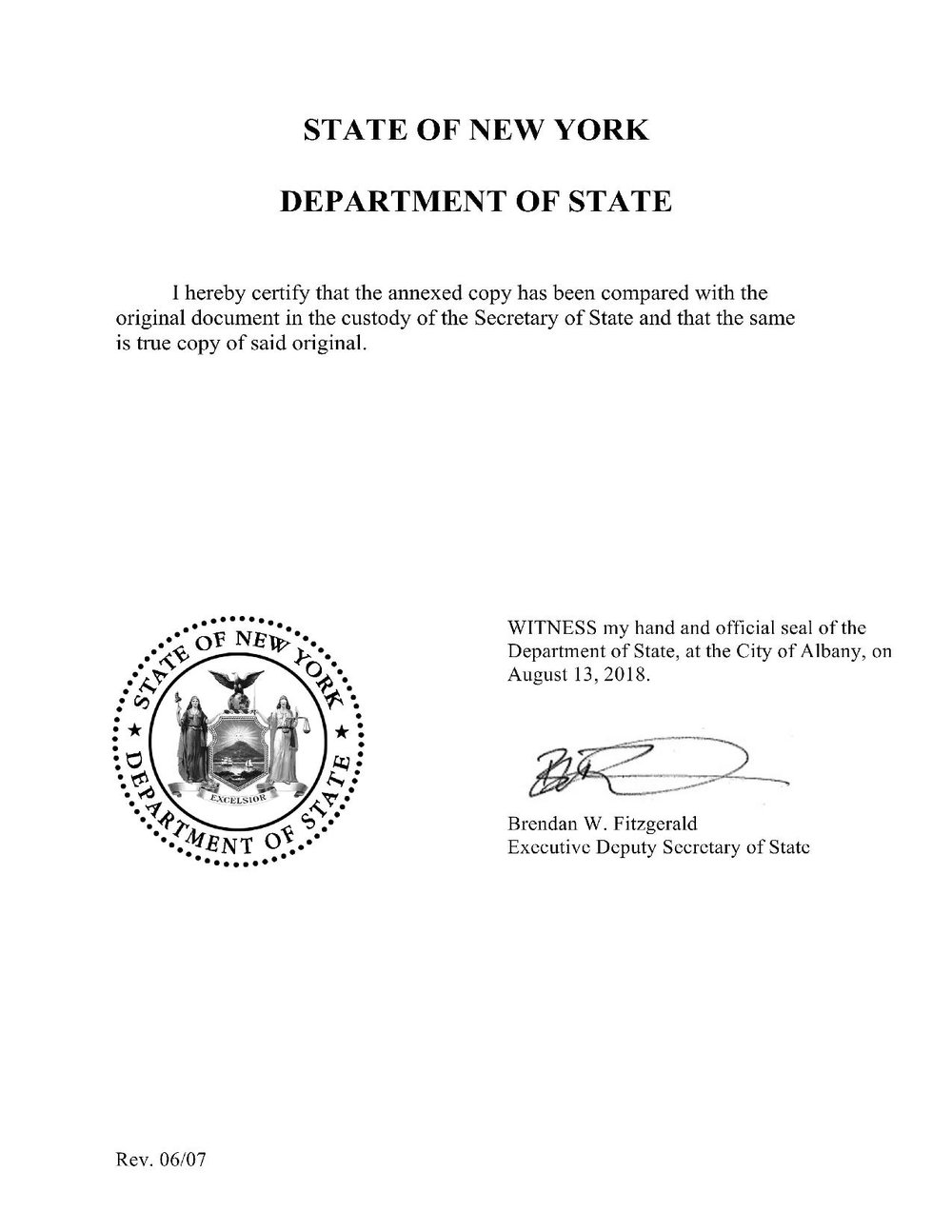 Scan of formal document from the State of New York Department of State. White paper with black text including the state seal of New York and a formal signature form the Executive Deputy Secretary of State Brendan W. Fitzgerald