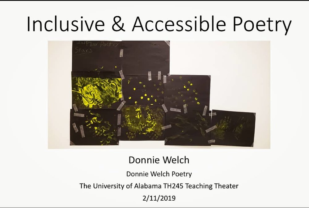 Title slide of powerpoint presentation.At the top is the title, followed by a center is an image of hand painted stars, yellow finger paint on black construction paper. Below that is the presenter name and information.